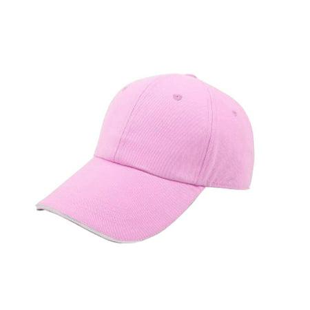 Pro Space Cotton Adjustable Flat Caps Work Hat Baseball Unisex Plain Hat (Pink) Pro Cotton Cap