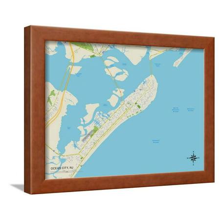 Party City West Orange Nj (Political Map of Ocean City, NJ Framed Print Wall)