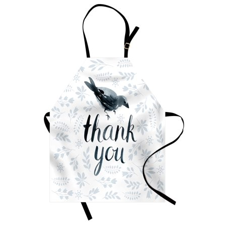 Animal Apron Big Chubby Cute Bird with Water Color like Thank You Quote and Leaves Artwork, Unisex Kitchen Bib Apron with Adjustable Neck for Cooking Baking Gardening, Grey and Black, by Ambesonne - Cute Chubby Teen
