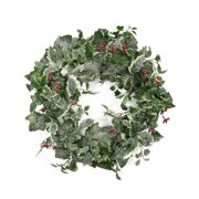 "24"" Frosted Holly Berry and Ivy Artificial Christmas Wreath - Unlit"