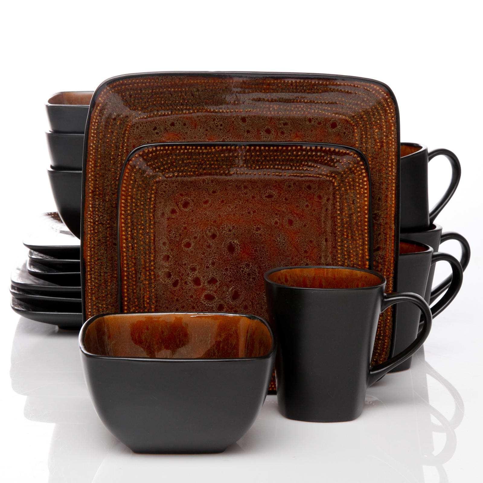 Gibson Elite Autumn Amber 16pc Square Dinnerware Set Black/Brown  sc 1 st  Walmart : home trends dinnerware - pezcame.com