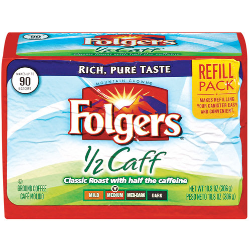 Folgers 1/2 Caff Medium Ground Coffee Refill Pack, 10.8 oz
