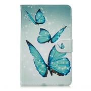 Allytech All New Amazon Kindle Fire 7-inch Tablet Cover Case (7th/5th Generation, 2017/2015 Releases), [Corner Protection] [Auto Wake/Sleep] Multi-Angle Viewing Folio Stand Cover, Blue Butterfly