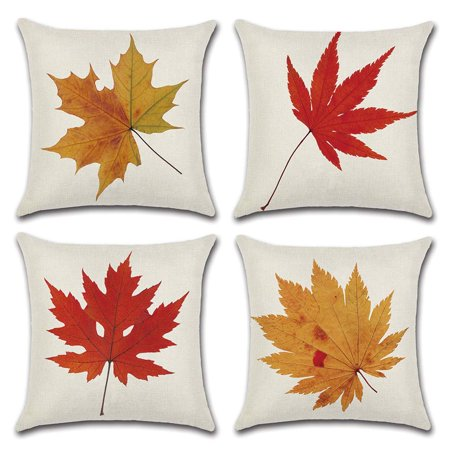 18 Inch Leaf - Popeven Pillow Cases Decorative Cotton Linen Set of 4 Throw Pillow Cushion Covers 18 x 18 inch for Sofa, Bench, Bed, Auto Seat (Maple Leaf Patter