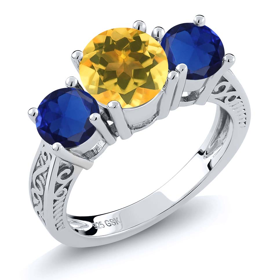 2.50 Ct Yellow Citrine Blue Simulated Sapphire 925 Sterling Silver 3-Stone Ring