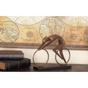 "Decmode - Large Textured Black & Bronze Abstract Art Cyclist Statue, Bicycle Art Table Décor, Unique Industrial Décor, Polystone Cyclist Sculpture, 14""x 11"""