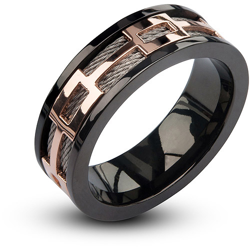 Steel Art Men's Stainless Steel Cable in IP Rose Gold Window in IP Black Spinner Polished Ring