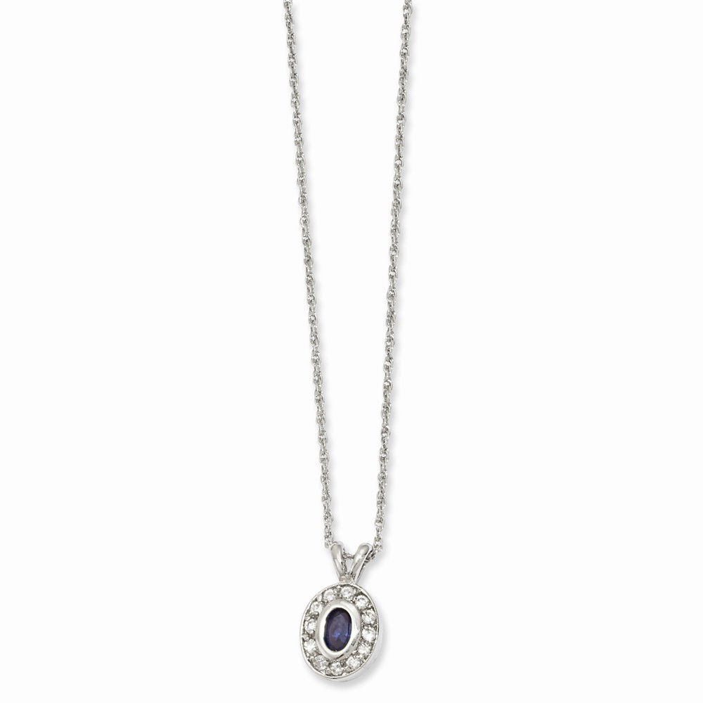 Rhodium-plated September Birthstone Oval CZ 18in Necklace