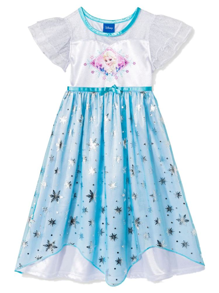 Disney Frozen Infant Girls Blue Elsa Nightgown Glitter Snowflake Gown
