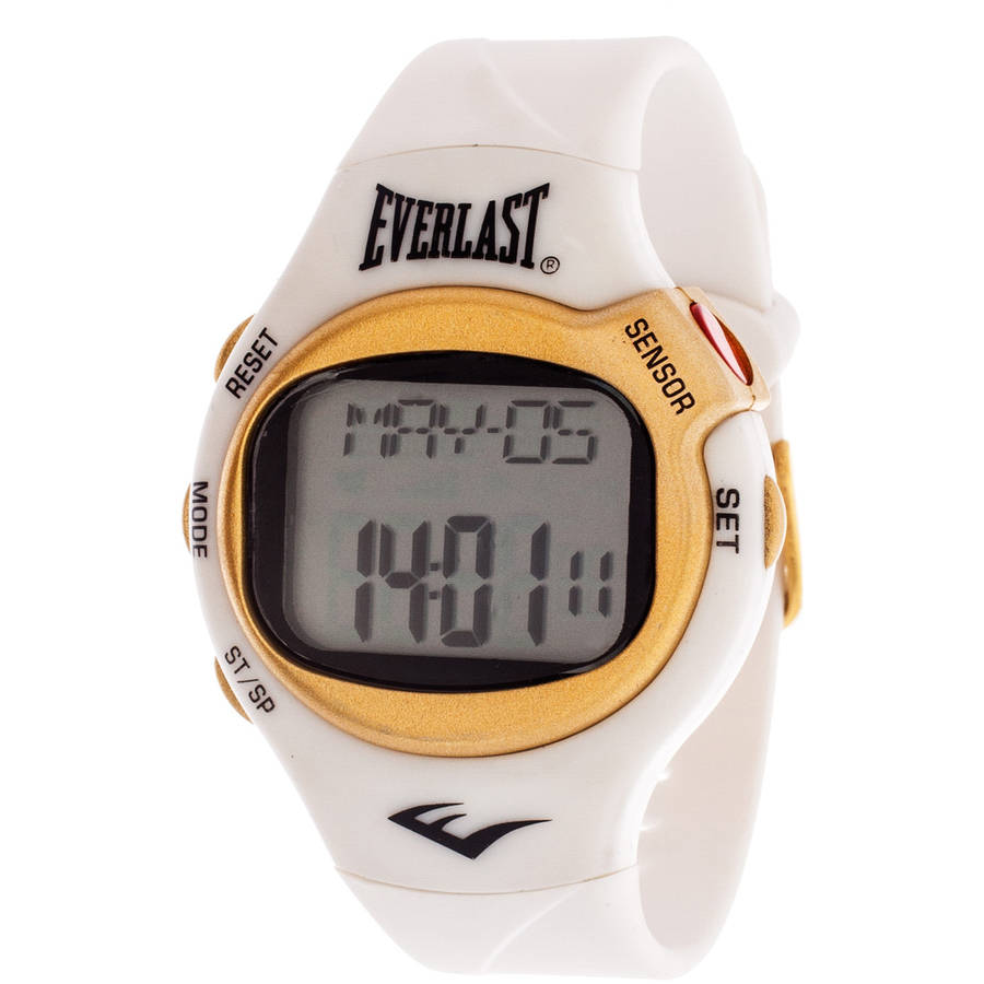 Everlast HR5 Finger-Touch Heart Rate Monitor Watch, White Plastic Strap