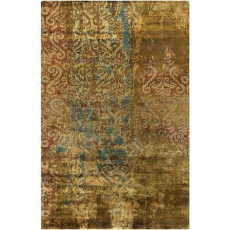 2 X 3 Rustic Style Brown And Teal Elegant Wool Area Rugs