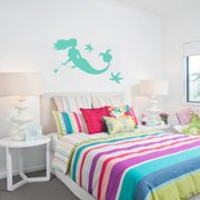 Large Mermaid and Starfish Wall Decals LAVENDER