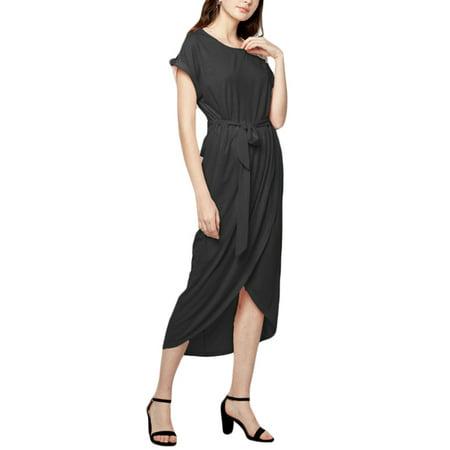 - Casual Women Short Sleeve O-Neck Drawstring Maxi Asymmetrical Hem Dress