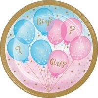 Gender Reveal Balloons Dessert Plates, 24 Count