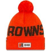 Cleveland Browns New Era 2019 NFL Sideline Road Reverse Sport Knit Hat - Orange - OSFA