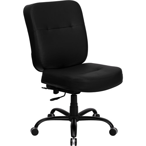 Hercules Big and Tall Leather Office Task Chair, Black (holds up to 500 lbs)
