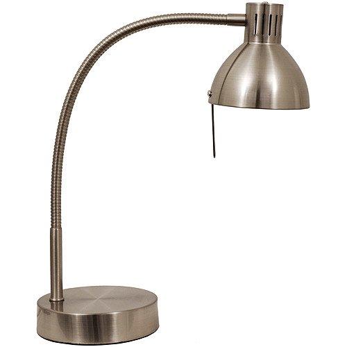 Mainstays Halogen Desk Lamp, Brushed Steel