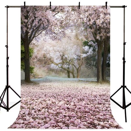 HelloDecor Polyster 5x7ft Spring Pink Sakura Tree Floral Photography Studio Backdrop Background