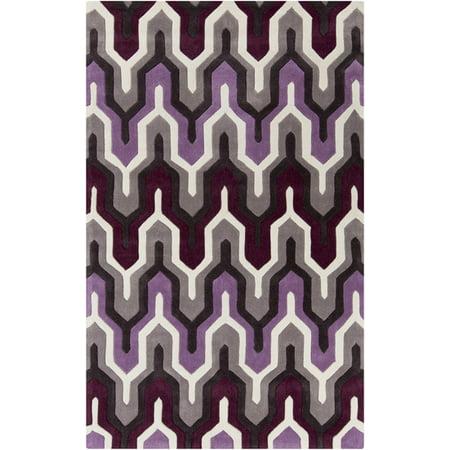 5' x 8' Egyptian Tefnut Purple and Gray Hand Tufted Area Throw Rug ()
