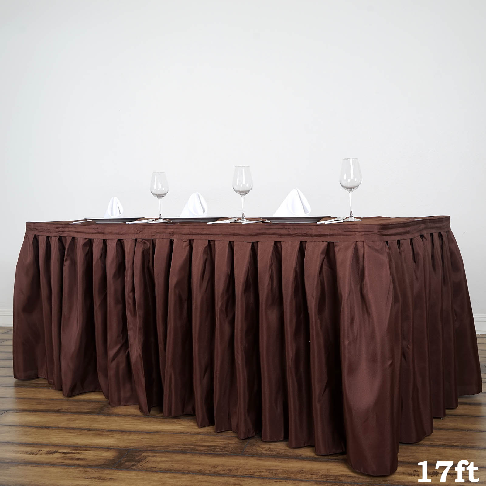 """BalsaCircle 17 feet x 29"""" Polyester Banquet Table Skirt - Wedding Party Trade Show Booth Events Linens Decorations"""