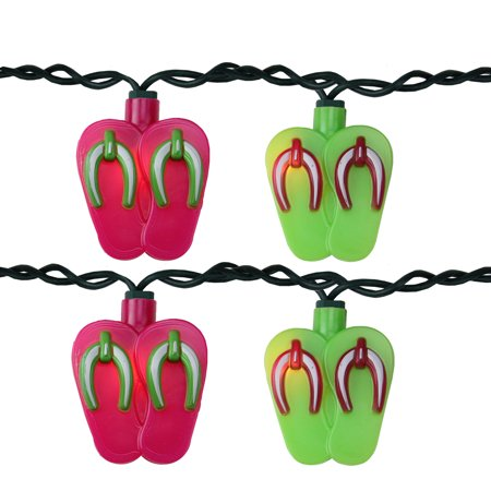 Set of 10 Pink and Green Beach Party Sandal Patio Novelty Lights- 8ft Green Wire](Fsu Party)