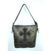 Accessories Plus MKC-516 PT Single Strap Handbag with cross, Pewter