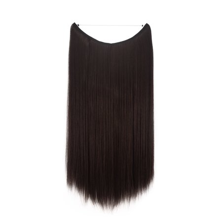 FLORATA Hair Hidden Wire Extensions Secret Hair Extensions Long Straight No Clips No Glue Hairpieces Invisible Fish Line - Glued Hair Extension