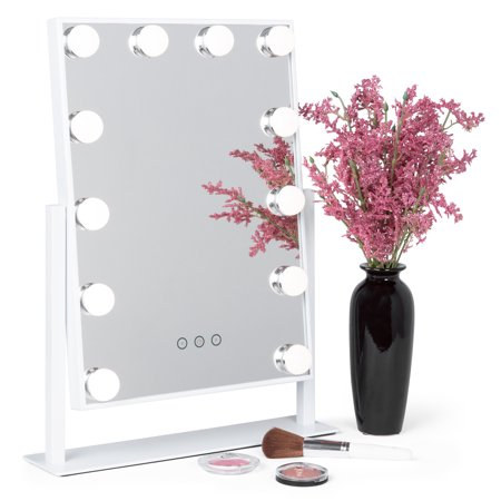 Best Choice Products Smart Touch Lighted Tabletop Hollywood Vanity Mirror Accent Decor w/ 12 LED Lights, Adjustable Color Temperature and Brightness - (Best Mirror With Integrated Lighted)