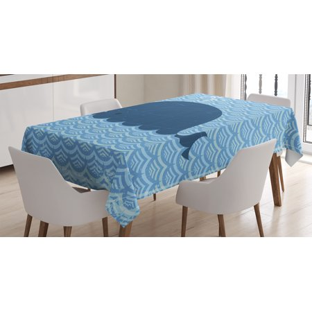 Whale Decor Tablecloth, Little Whale Water on Top with Art Deco Wavy Like Patterned Background for Kids Room, Rectangular Table Cover for Dining Room Kitchen, 60 X 84 Inches, Blue, by Ambesonne - Deco Table Pour Halloween