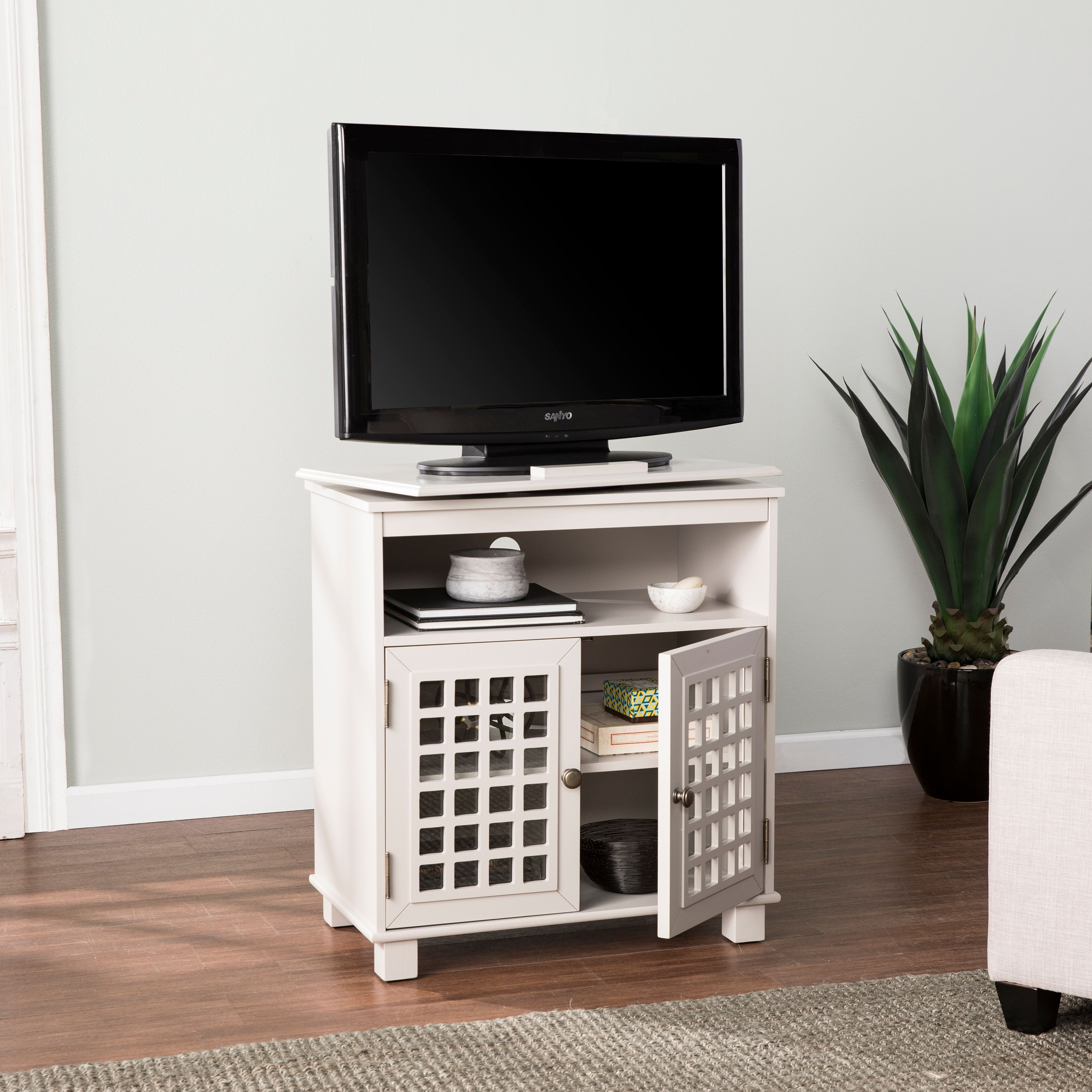 Southern Enterprises Melbourne Swivel Top Media Stand, Transitional Style, Gray