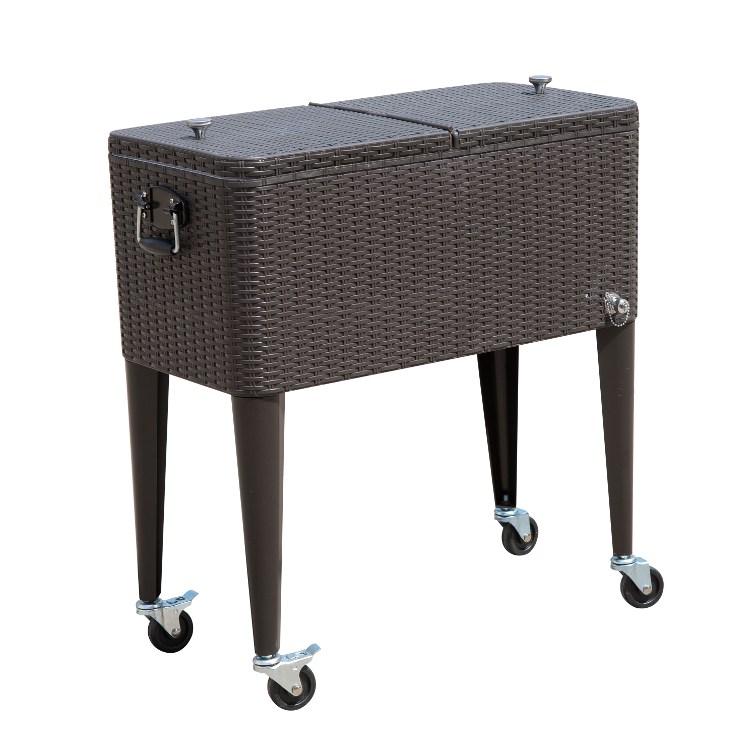 Outsunny 80 QT Rolling Ice Chest Portable Patio Party Drink Cooler Cart - Brown Wicker Pattern