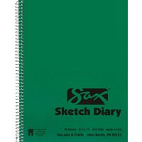 Sax Sulphite Spiral Binding Artists Sketch Diary, 50 lbs, 8-1/2 x 11 Inches, 50 Sheets, White
