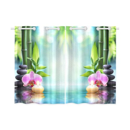 CADecor Japanese Spa Window Kitchen Curtain, Zen Bamboo Water Lily Window Treatment Panel Curtains,26x39 inches,Set of 2