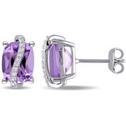 4 Carat T.G.W. Amethyst and 1/10 Carat T.W. Diamond Sterling Silver Stud Earrings