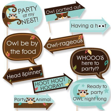 Funny Owl - Look Whooo's Having A Party - Baby Shower or Birthday Party Photo Booth Props Kit - 10 Piece - Owl Baby Shower Decor