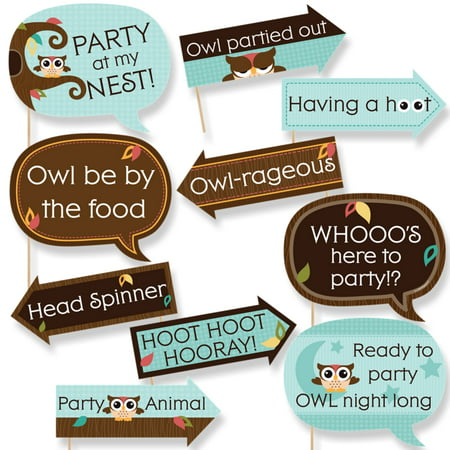 Funny Owl - Look Whooo's Having A Party - Baby Shower or Birthday Party Photo Booth Props Kit - 10 Piece - Owl Birthday Party Supplies