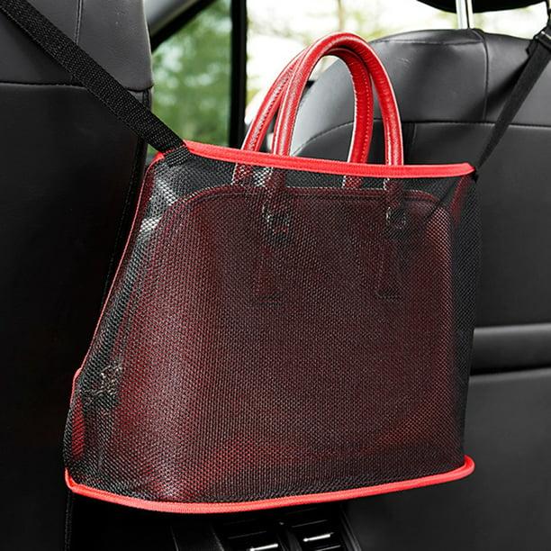 HHYSPA Car Net Pocket Handbag Holder,Organizer Seat Side Storage Mesh Net Bag,Car Mesh Organizer Car Net Bag for Handbag Bag Documents Phone Valuable Items Red