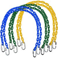 """Playkids Fully Coated Swing Set Chain (Pair of Two) in sizes 40"""" 66"""" or 85"""" with Quick Links for Swing Set and Playground Plastic Chain - Green Blue Yellow"""