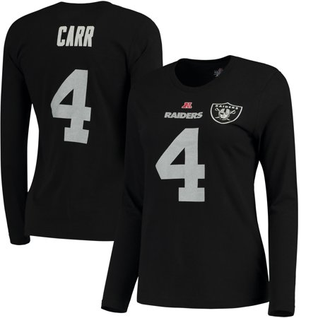 Derek Carr Oakland Raiders Majestic Women's Plus Size Her Catch Player Name & Number Long Sleeve T-Shirt -