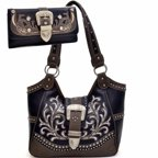 Ritz Enterprises BT947WB49SET- FU Western Rhinestone Buckle Accent Embroidered Purse Handbag With Matching Wallet -