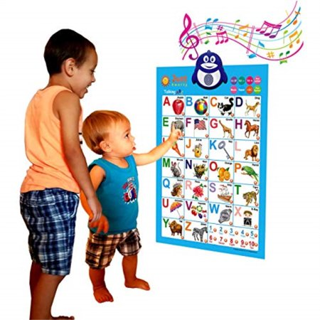 Just Smarty Electronic Interactive Alphabet Wall Chart, Talking ABC and 123s and Music Poster, Best Educational Toy for