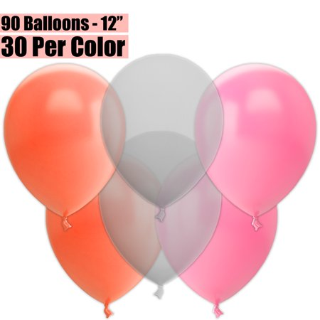 12 Inch Party Balloons, 90 Count - Peach + Clear + Pink - 30 Per Color. Helium Quality Bulk Latex Balloons In 3 Assorted Colors - For Birthdays, Holidays, Celebrations, and More!!](90 Birthday Ideas)