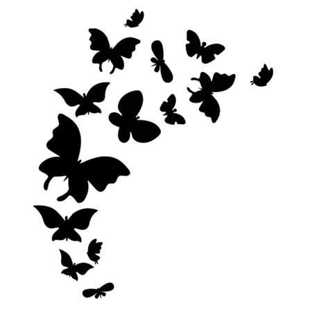 Hotel Room Acrylic Butterfly Design Removable Mirror Wall Decor Sticker Black (Black Stickers)