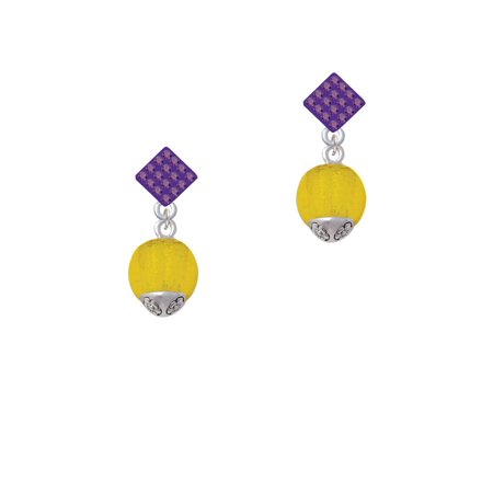 12mm Gold Tone Roller Spinner with Silver Tone Lining Glass Spinner Purple Crystal Diamond-Shape Earrings Gold Tone Purple Crystal