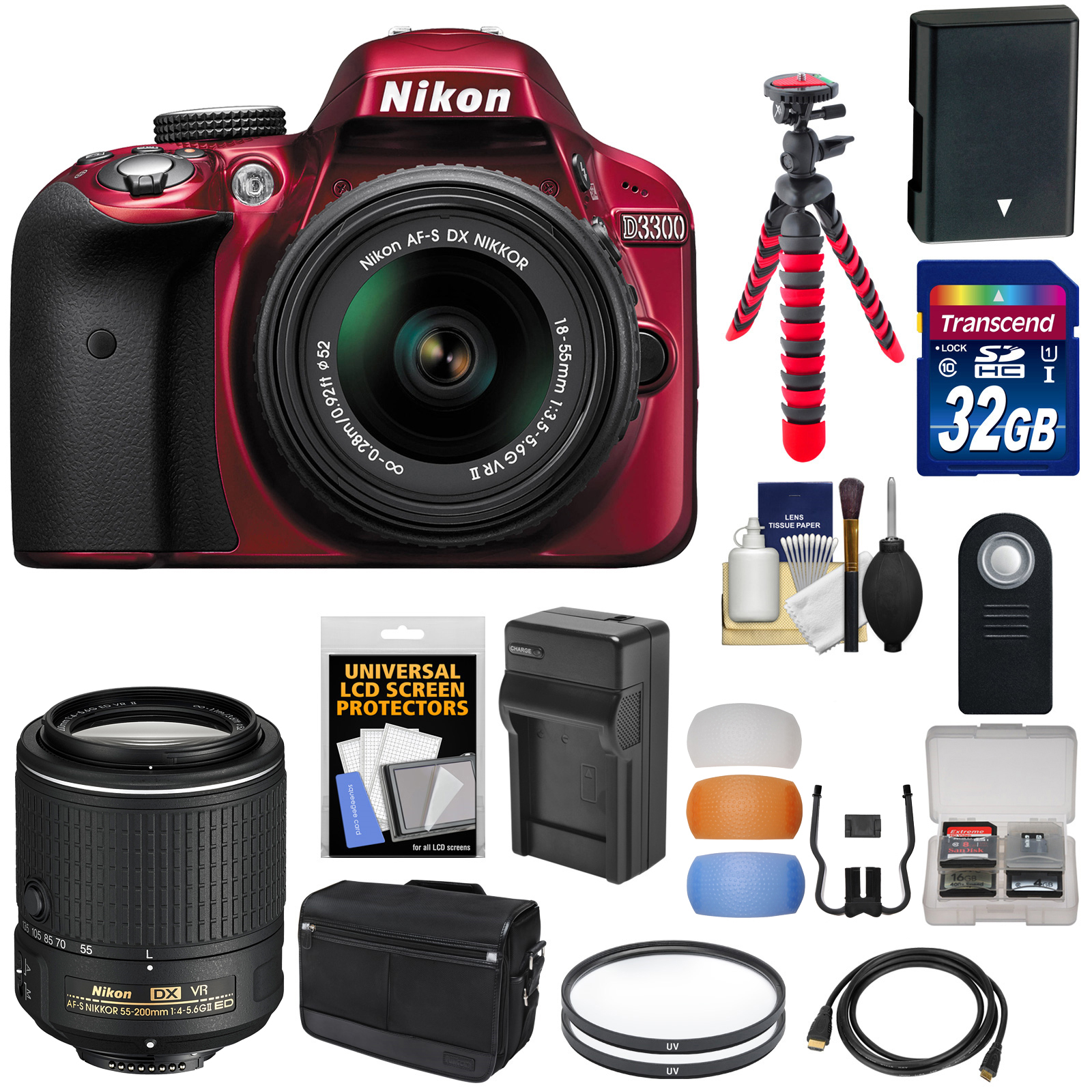 Nikon D3300 Digital SLR Camera & 18-55mm G VR DX II AF-S (Red) with 55-200mm VR II Lens   32GB Card   Shoulder Bag   Battery   Charger   Tripod Kit