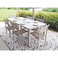 7pc Outdoor Aluminum and Wicker Hand Painted Beachwood Look Patio Dining Set