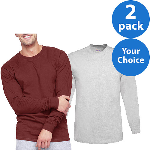 Hanes Men's Beefy Long Sleeve T-shirt, 2 Pack