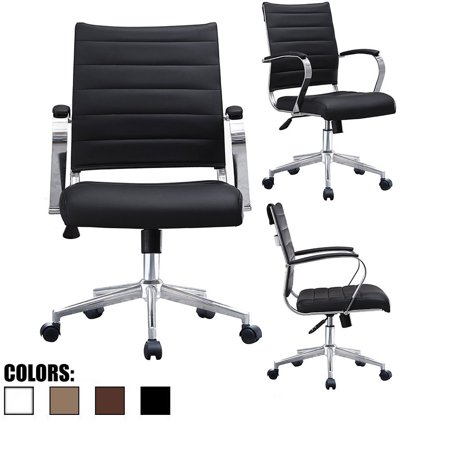 2xhome - Black Modern Mid Back Ribbed PU Leather Chair with wheels Arm Rest  w/Tilt Adjustable Cushion Seat Designer Boss Executive Office Chair Work ...