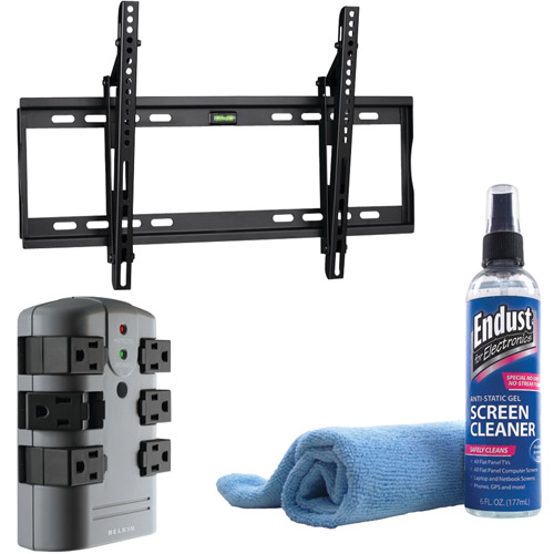 Hdtv 32-60in Tilt Mount With Lcd Gel Cleaner And 6-out Pivot Plug Surge