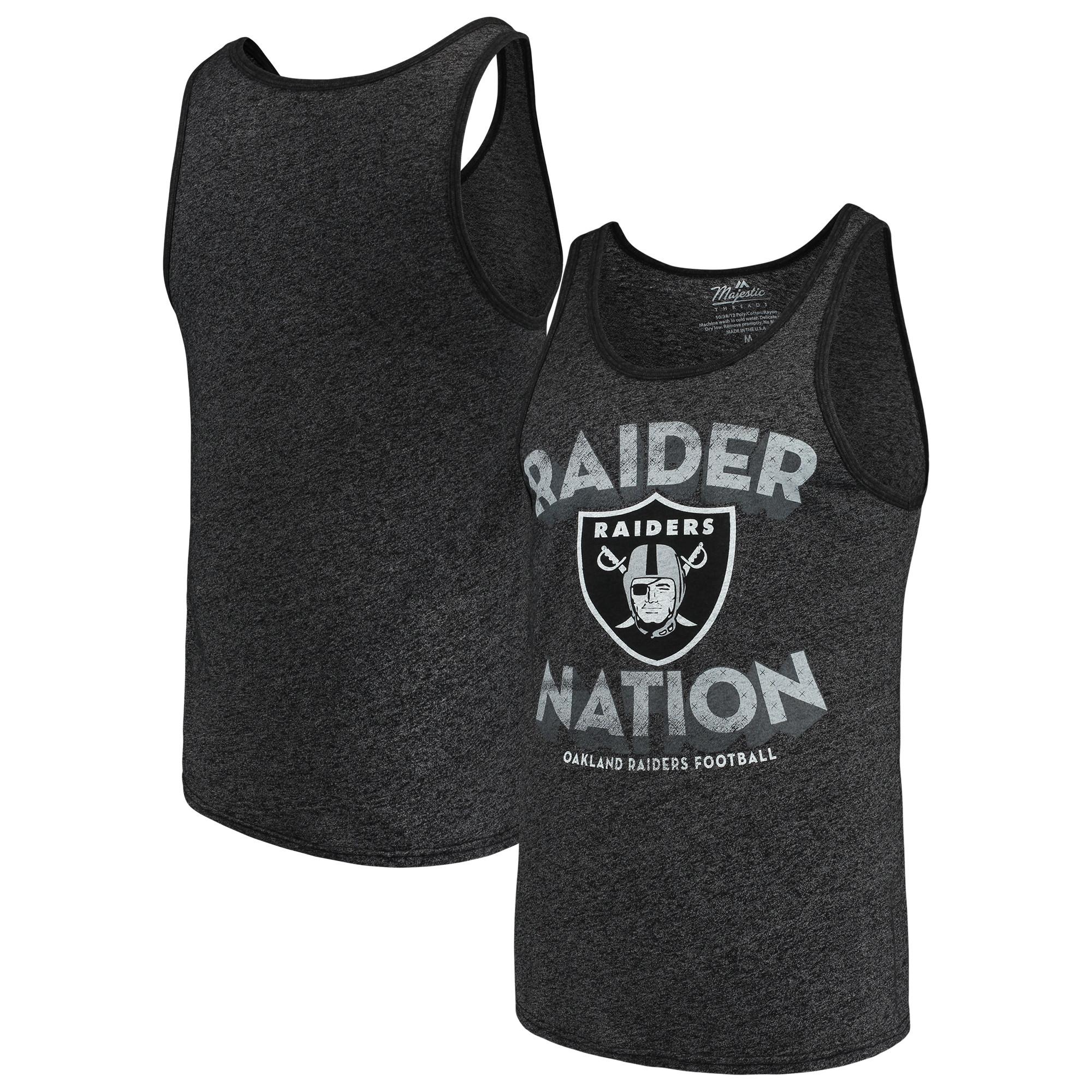Oakland Raiders Majestic Threads Slogan Tri-Blend Tank Top - Black